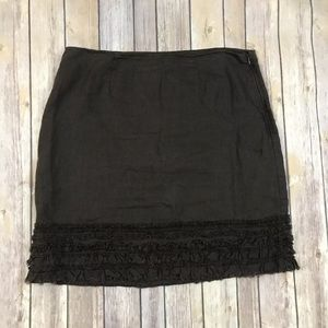 Tommy Bahama Skirt Size 10 Brown Ruffle 100% Linen
